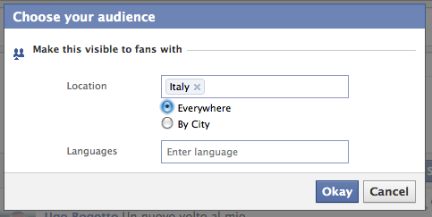 Facebook wall Stream by city