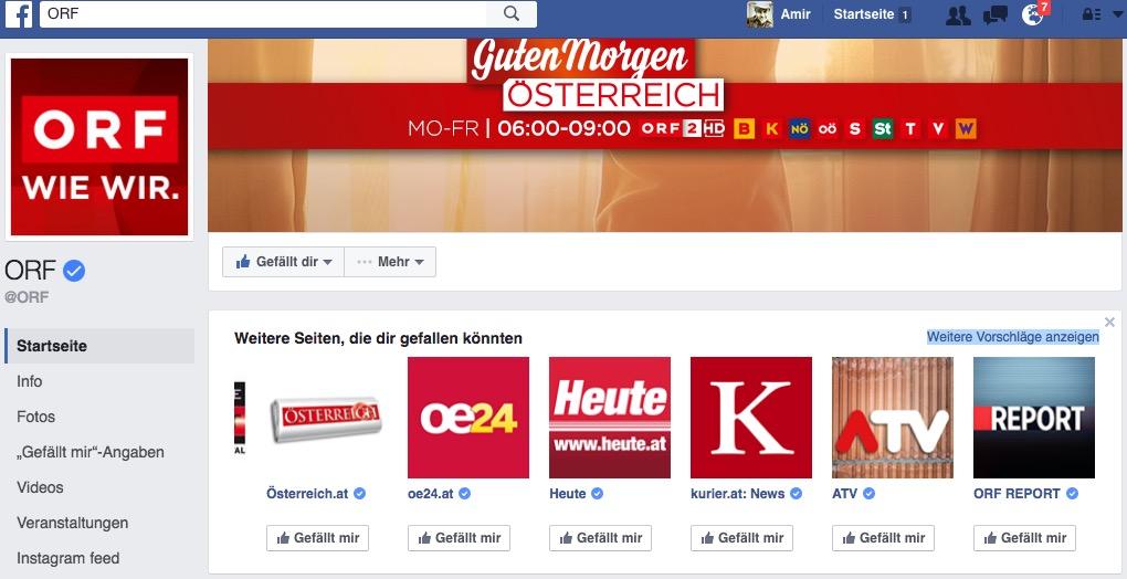 ORF Fanpage Recomendaiton check