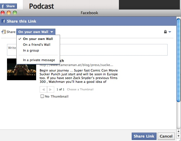 New Facebook Share button