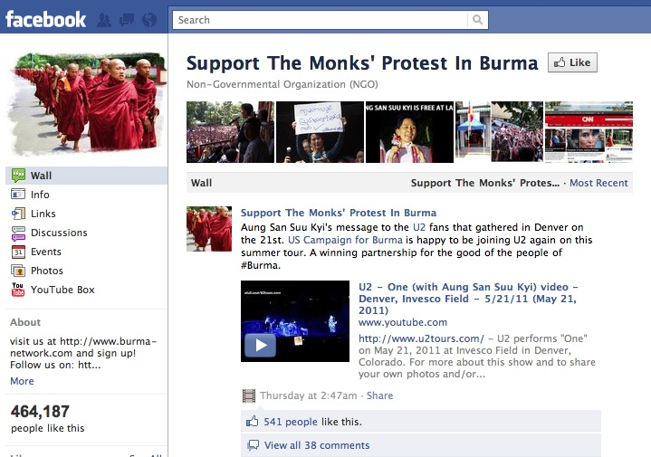 Facebook Page for Burma